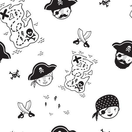 Pattern for kids, girls and boys. Vector illustration of kids pirates . Illusztráció