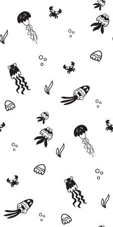 Pattern for kids, girls and boys. Vector illustration of sea creatures Illusztráció