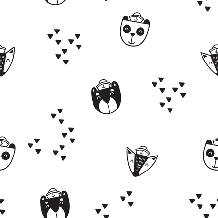 Pattern for kids, girls and boys. Vector illustration of bears
