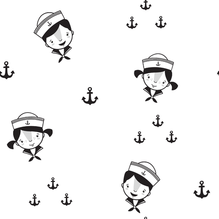 Pattern for kids, girls and boys. Vector illustration of sailors