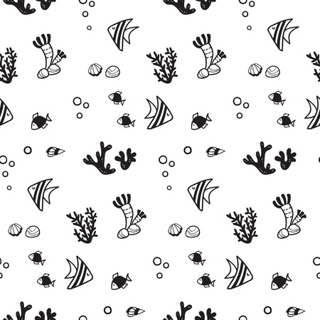 Pattern for kids, girls and boys. Vector illustration of fish Иллюстрация