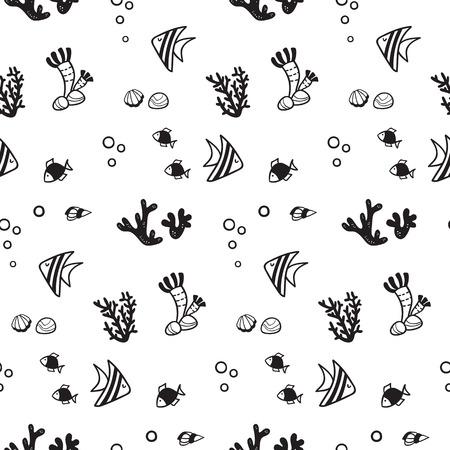 Pattern for kids, girls and boys. Vector illustration of fish Illusztráció