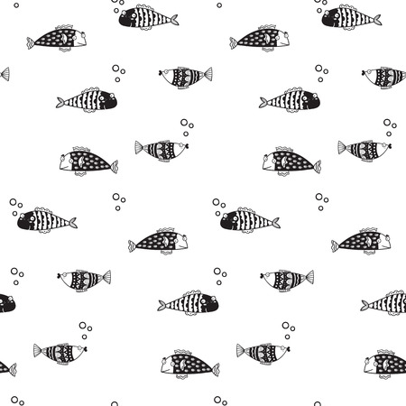 Pattern for kids, girls and boys. Vector illustration of fish 일러스트