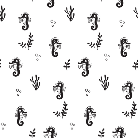 Pattern for kids, girls and boys. Vector illustration of sea horses Иллюстрация