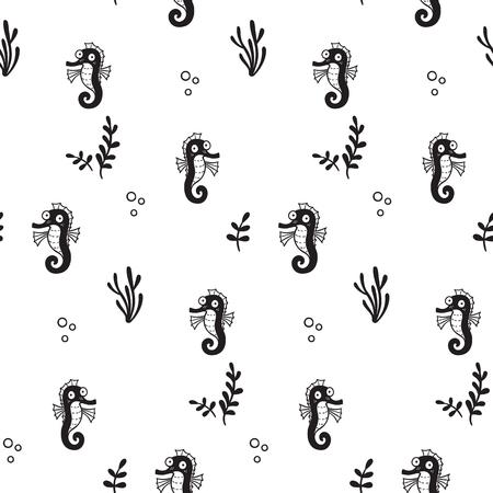 Pattern for kids, girls and boys. Vector illustration of sea horses Illusztráció