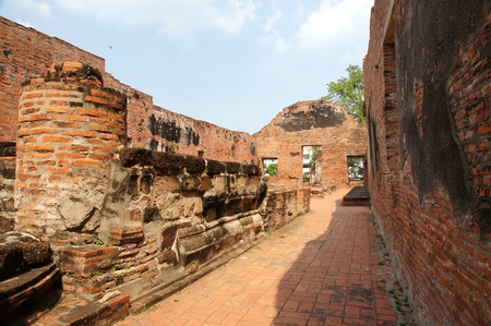Wall of ruins temple at Ayutthaya Historical Park, Thailand  photo