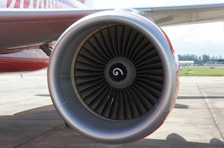 close up of turbojet of aircraft