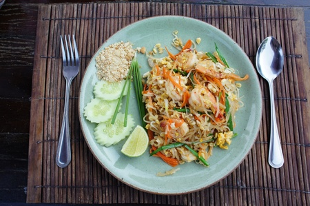 Pad thai, Stir fry noodles with shrimp photo