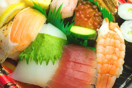 Japanese sushi , traditional japanese food Stock Photo - 13206292