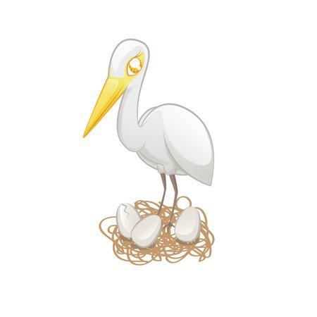 Cute Egret Kawaii Illustration