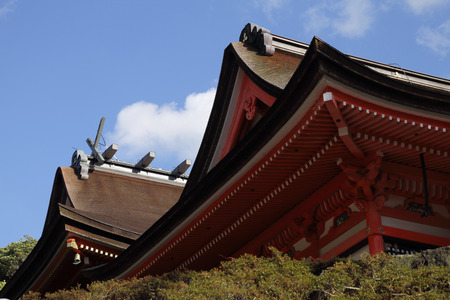 brightly: Brightly coloured roof of Hinomisaki Shrine