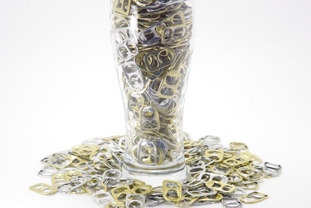 pulltab: Beer glass and pull-tab Stock Photo