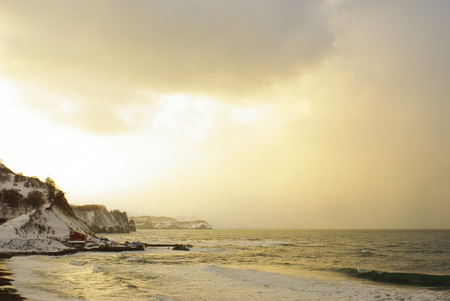 filming point of view: Winter Sea of Japan dusk Stock Photo