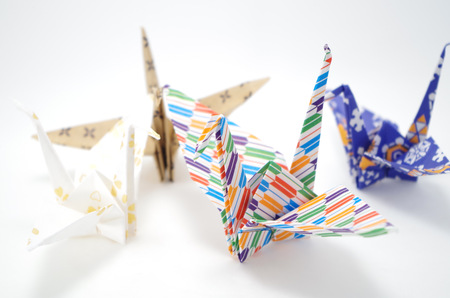 japanese culture: Japanese culture Origami of the crane Stock Photo