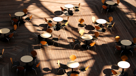 Terrace in urban area with round table