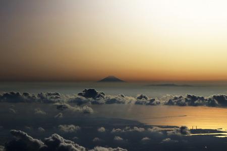 Aerial view of Mt. Fuji evening landscape