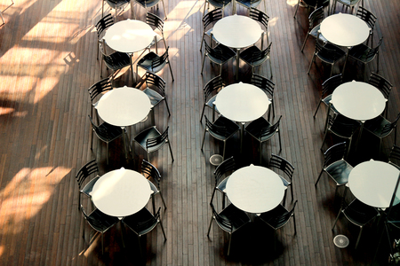 Round table lined in sunny rooms