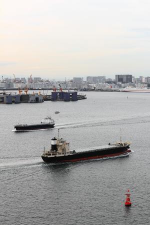 Cargo ship navigate in Tokyo Bay
