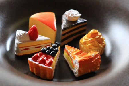 Dish with various cake imitations