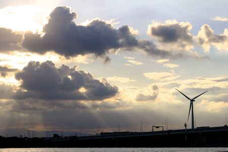 A wind power generator built in a dramatic sky Stockfoto - 131870495
