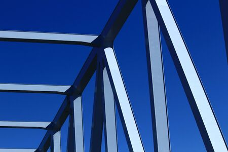 Closeup photo of a riveted steel seam of an iron bridge Stockfoto