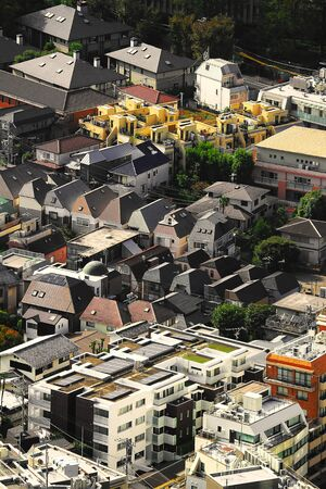 Aerial view of a residential area where detached houses in central Tokyo gather