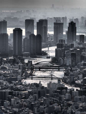 Gray monochrome city Tokyo with a mysterious atmosphere