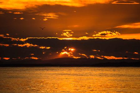 Dramatic and beautiful sunset seascape of Kushiro, Hokkaido, Japan