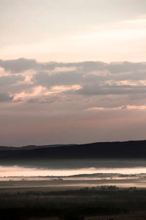 Scenery of Kushiro Marsh in the morning covered with fog