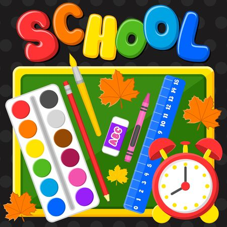 Back to school. First day of school. Colorful title and elements in black background. Vector illustration. Banner with school supplies.
