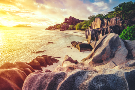 The most beautiful beach of Seychelles - Anse Source DArgent Banque d'images
