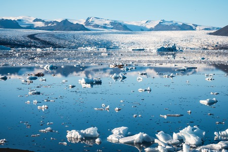 Spectacular glacial lagoon in Iceland with floating icebergs Imagens