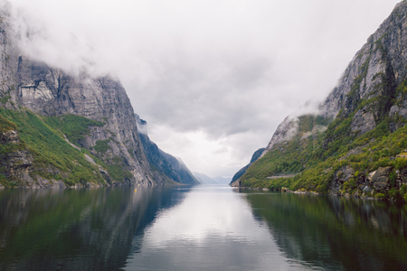 Aerial view of the amazing Lysefjord in Norway Stock Photo