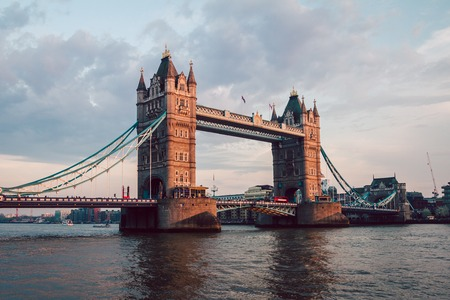 Spectacular Tower Bridge in London at sunset