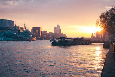 Amazing sunset over the river Thames in London