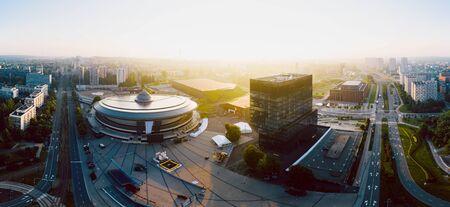Piękny wschód słońca nad centrum Katowic