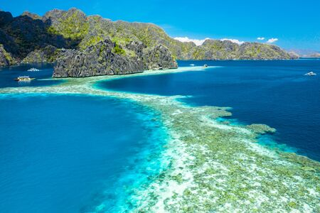 Aerial view of beautiful lagoons and limestone cliffs of Coron, Palawan, Philippines