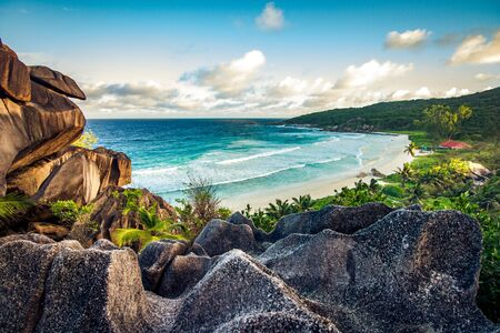 Amazing view at Grande Anse beach located on La Digue Island, Seychelles 스톡 콘텐츠
