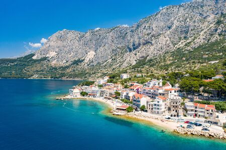 An aerial view of village of Drasnice located on Makarska Riviera, Croatia