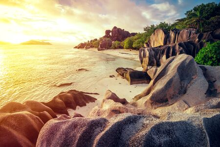 The most beautiful beach of Seychelles - Anse Source D'Argent 스톡 콘텐츠