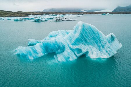 Spectacular glacial lagoon in Iceland with floating icebergs 스톡 콘텐츠