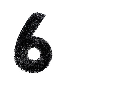 Black number made from beads on white background. Isolated. Stock Photo