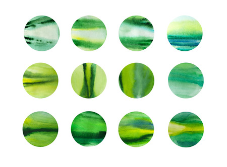 ounce: Watercolor hand drawn dot abstract background, green and yellow abstract background. Banner for text, grunge element for decoration. White background.