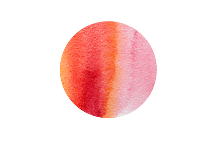Watercolor hand drawn dot abstract background. Banner for text, grunge element for decoration. Watercolor circle isolated on white. Element, symbol of feng shui in flat design: fire.