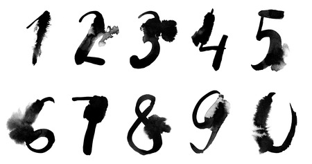 Watercolor hand written black numbers with spots, calligraphy. Banco de Imagens