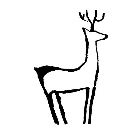 ungulate: Vector grunge silhouette of deer in primitive art style
