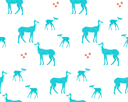 Seamless pattern with deers. Flat vector illustration.