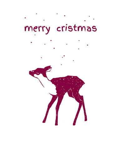 young deer isolated on white background. Merry Christmas.