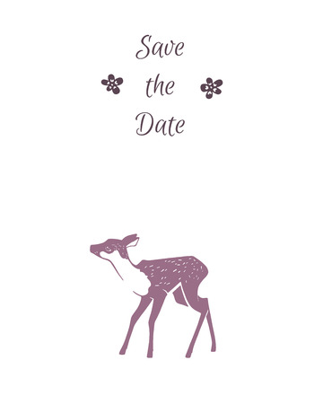 Fawn. Save the date. Eco style hipster illustration in vector