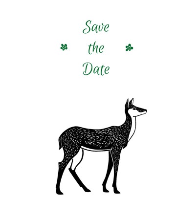 Doe. Save the date text. Eco style hipster illustration in vector